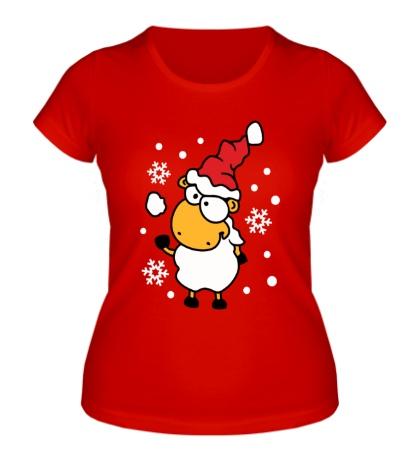 Женская футболка Барашек и снежок