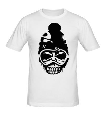 Мужская футболка Череп сноубордиста