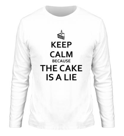 Мужской лонгслив Keep calm because the cake is a lie