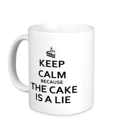 Керамическая кружка Keep calm because the cake is a lie
