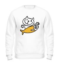 Свитшот Кот и большая рыба