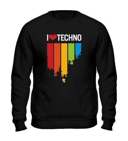 Свитшот I love Techno Colors