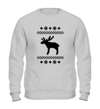 Свитшот Зимний узор с оленем
