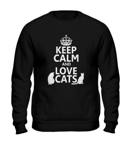Свитшот Keep calm and love cats.