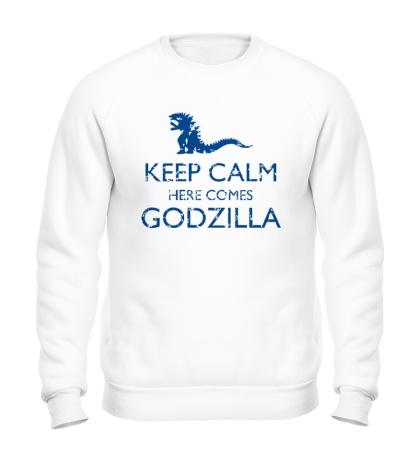 Свитшот Keep Calm here comes Godzilla