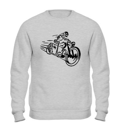 Свитшот Скелет на мотоцикле