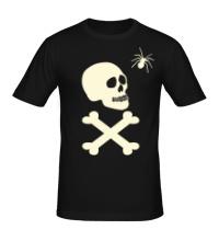 Мужская футболка Череп с пауком, свет