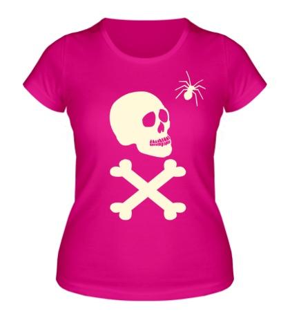 Женская футболка Череп с пауком, свет