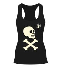 Женская борцовка Череп с пауком, свет