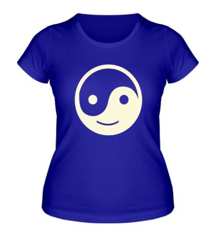 Женская футболка Веселый Инь Янь, свет