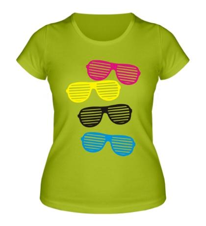 Женская футболка Разноцветные очки
