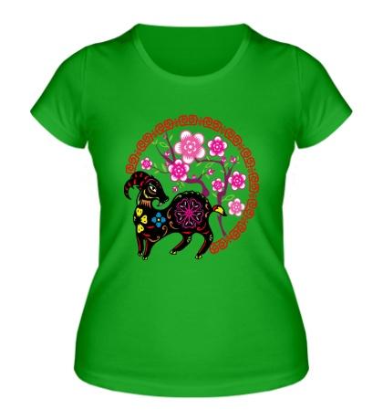 Женская футболка Коза и сакура