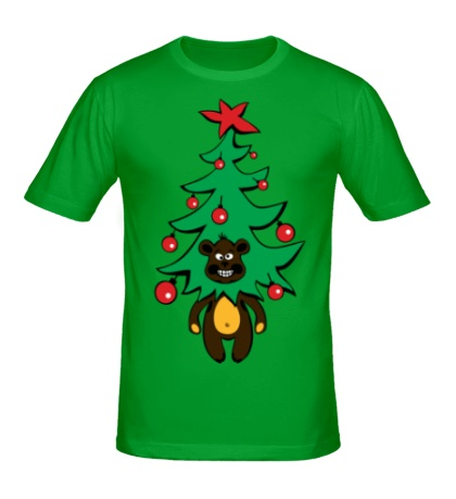 Мужская футболка Медведь с ёлкой