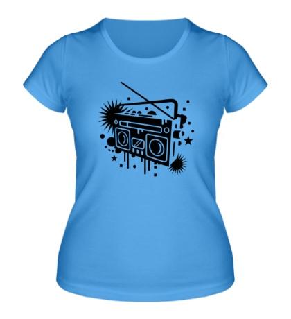 Женская футболка Старый магнитофон