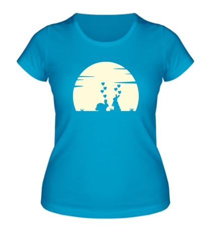 Женская футболка Влюбленные зайки свет