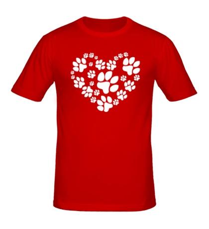 Мужская футболка Сердце из собачьих следов