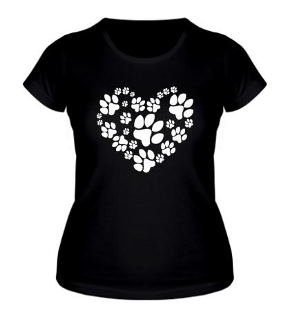 Женская футболка Сердце из собачьих следов