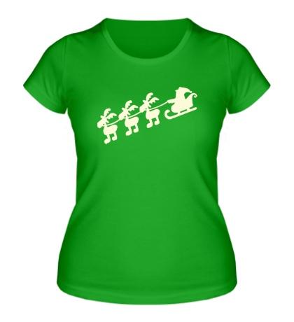 Женская футболка Дед мороз с оленями