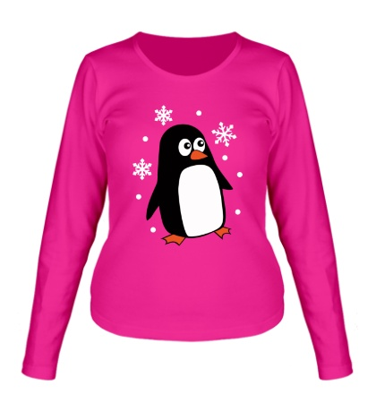 Женский лонгслив Пингвин под снегом