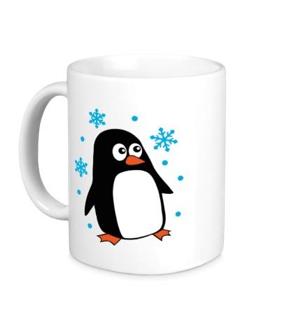 Керамическая кружка Пингвин под снегом