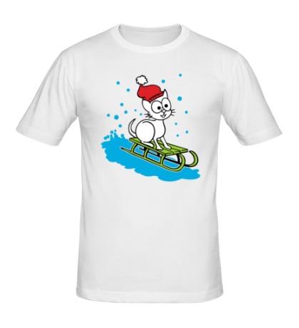 Мужская футболка Котик на санках
