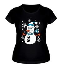 Женская футболка Веселый снеговичок