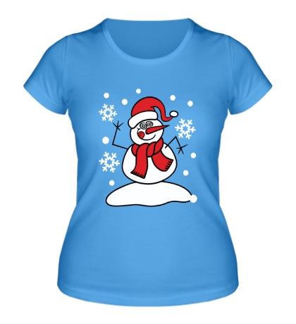 Женская футболка Забавный снеговик