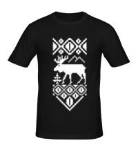 Мужская футболка Узор с оленем