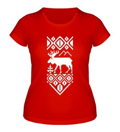Женская футболка Узор с оленем