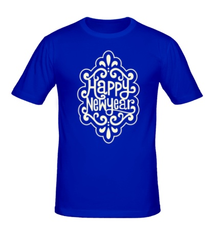 Мужская футболка Snowflake: Happy New Year Glow