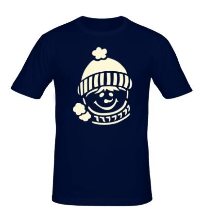 Мужская футболка Снеговик в шапке