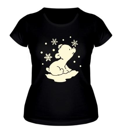 Женская футболка Полярный мишка, свет