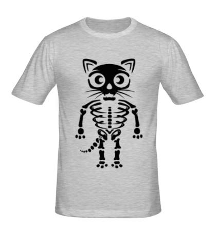 Мужская футболка Скелет кота