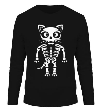 Мужской лонгслив Скелет кота