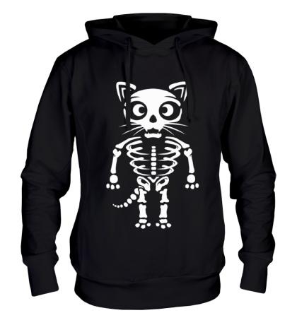 Толстовка с капюшоном Скелет кота