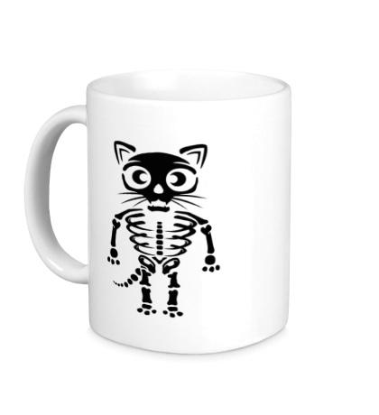 Керамическая кружка Скелет кота