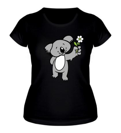Женская футболка Коала с цветком