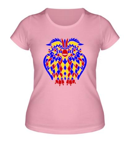 Женская футболка Сова из мозаики