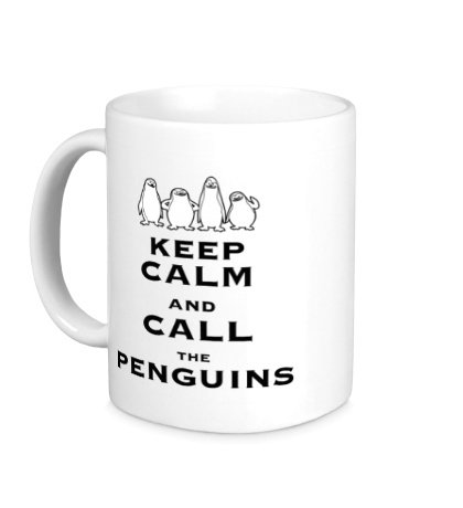 Керамическая кружка Keep calm and call the penguins of madagascar