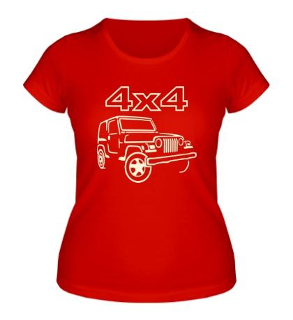 Женская футболка 4x4 внедорожники, свет