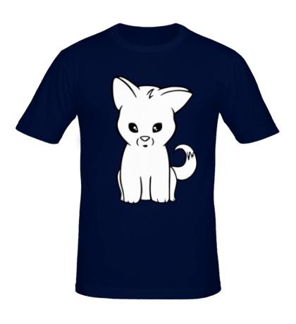 Мужская футболка Белый котик