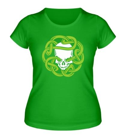 Женская футболка Череп в кельтском узле