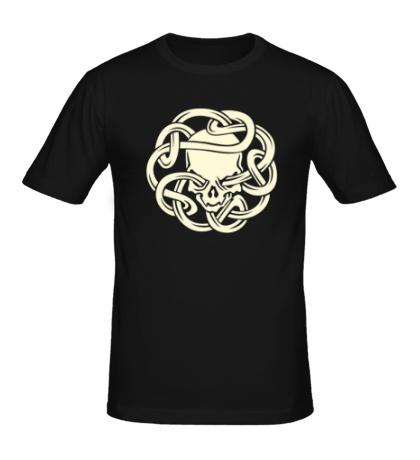 Мужская футболка Череп в кельтском узле, свет
