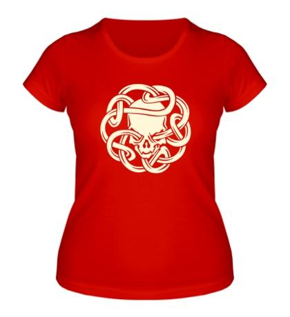 Женская футболка Череп в кельтском узле, свет