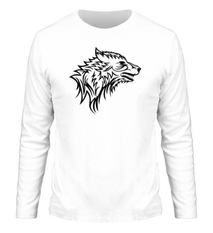 Мужской лонгслив Тату волк