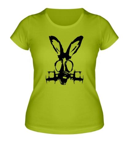 Женская футболка Заяц в противогазе
