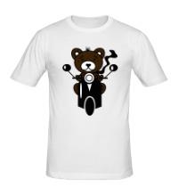 Мужская футболка Медведь на мотороллере