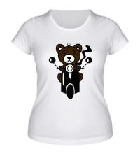 Женская футболка Медведь на мотороллере