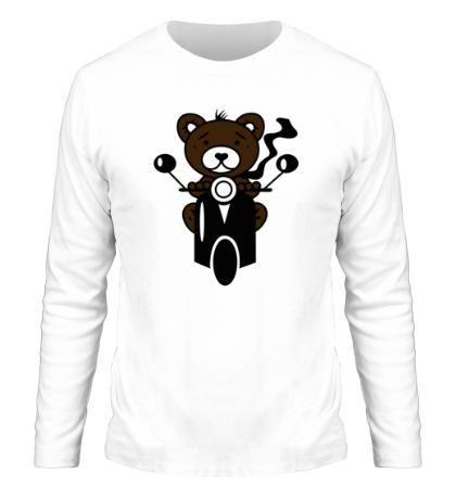 Мужской лонгслив Медведь на мотороллере
