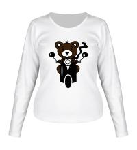 Женский лонгслив Медведь на мотороллере
